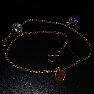 10kt solid  pure gold gem bracelet
